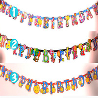 HAOCHU 2 Sets/lot 2.1m HAPPY BIRTHDAY Banner Cute Colorful String Letter Flag Hunting Stage background for Birthday Party Decor
