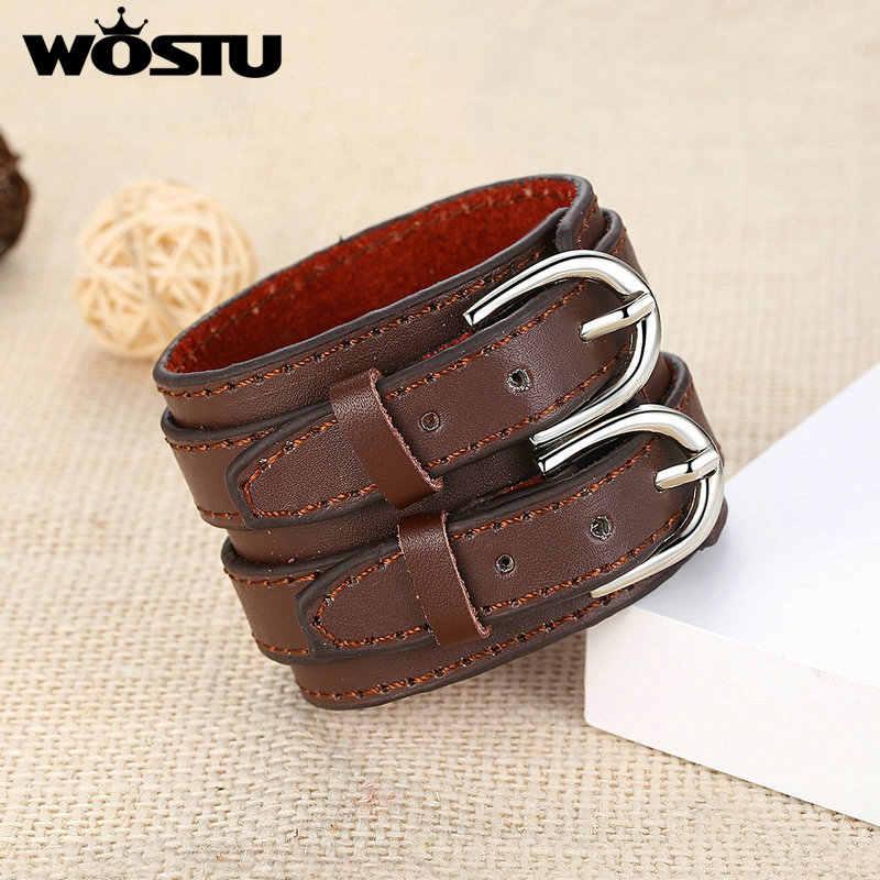 WOSTU gorąca sprzedaż 3 kolory oryginalna wierzchnia warstwa ze skóry Wrap Vintage bransoletka Trendy biżuteria dla mężczyzn kobiety moda Pulseira XCJ0268