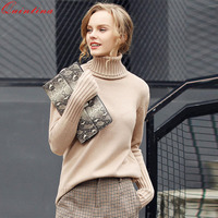 Quintina 2017 Winter Thicken Warm Knitting Sweaters And Pullovers For Women Casual Elastic Turtleneck Knitwear Female