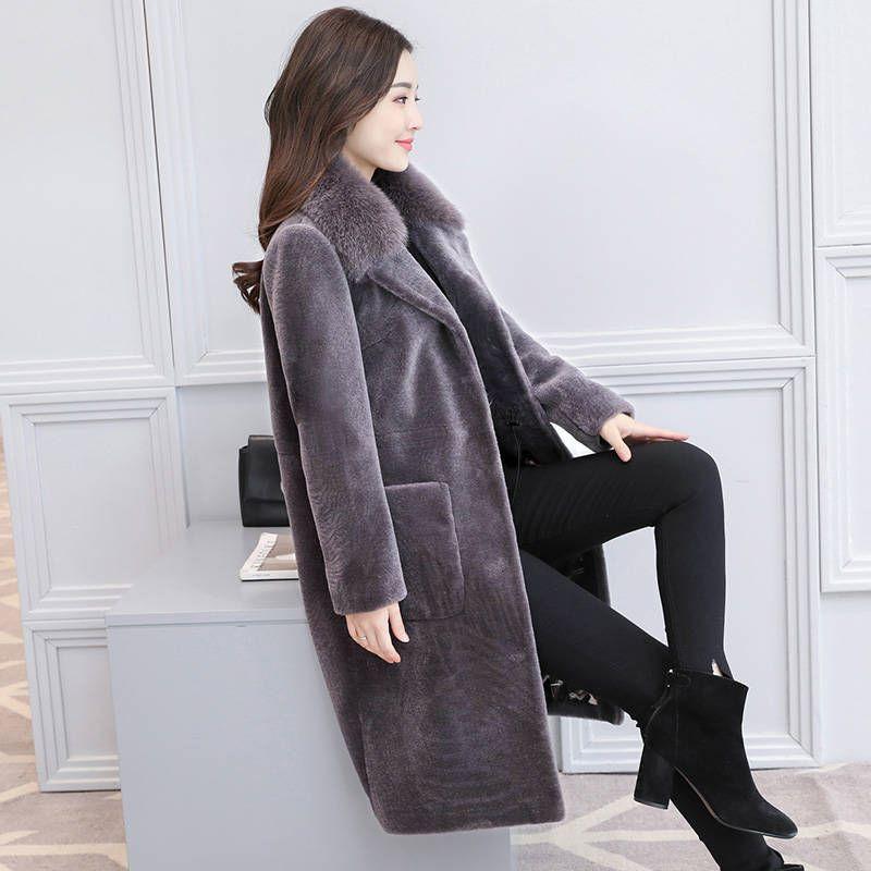 4xl Automne Vestes Femelle gris De Nouvelle Fourrure Chaud Tendance Plus 2018 Femmes Taille Manteaux Hiver Lady F89 Office Long Occasionnel Faux Vert Épais Mode PITOORq