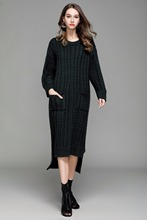 2018 Autumn Winter Women Long Sweater Dress O Neck Patchwork Twisted Flower Knitted Dress Pull Femme Manche Longue with Pockets