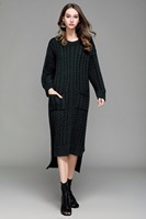 2019 Autumn Winter Women Long Sweater Dress O Neck Patchwork Twisted Flower Knitted Dress Pull Femme Manche Longue with Pockets