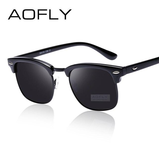 bbcaf8800 AOFLY Clássico Metade de Metal Polarizado Óculos De Sol Dos Homens Das  Mulheres Designer De Marca