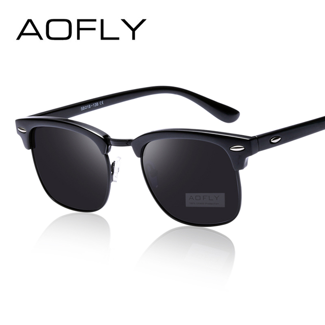 AOFLY Classic Half Metal Polarized Sunglasses Men Women Brand Designer  Glasses Mirror Sun Glasses Fashion Gafas Oculos De Sol 717ce2b756