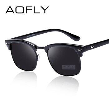 4f49cd997d AOFLY Medio Clásico de Metal Gafas de Sol Polarizadas Hombres/Mujeres  Diseñador de la Marca Gafas de Espejo Gafas de Sol de Moda gafas De Sol  Oculos