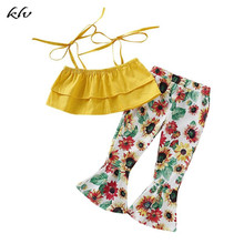 цена на 2019 Newborn Summer Beach Baby Girls Strappy Crop Top + Sunflower Flared Pants Outfits