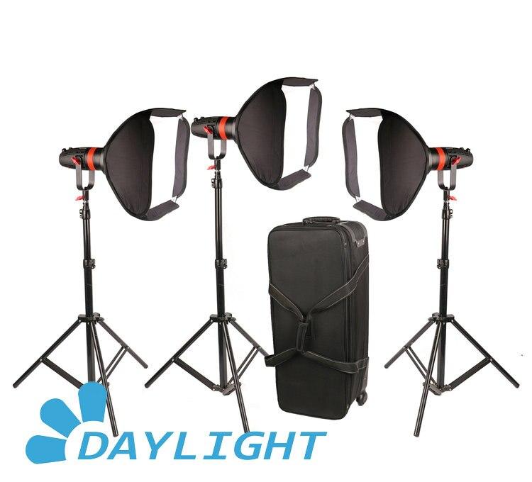 3 pièces CAME-TV Boltzen 55 w Fresnel focalisable LED paquet de lumière du jour