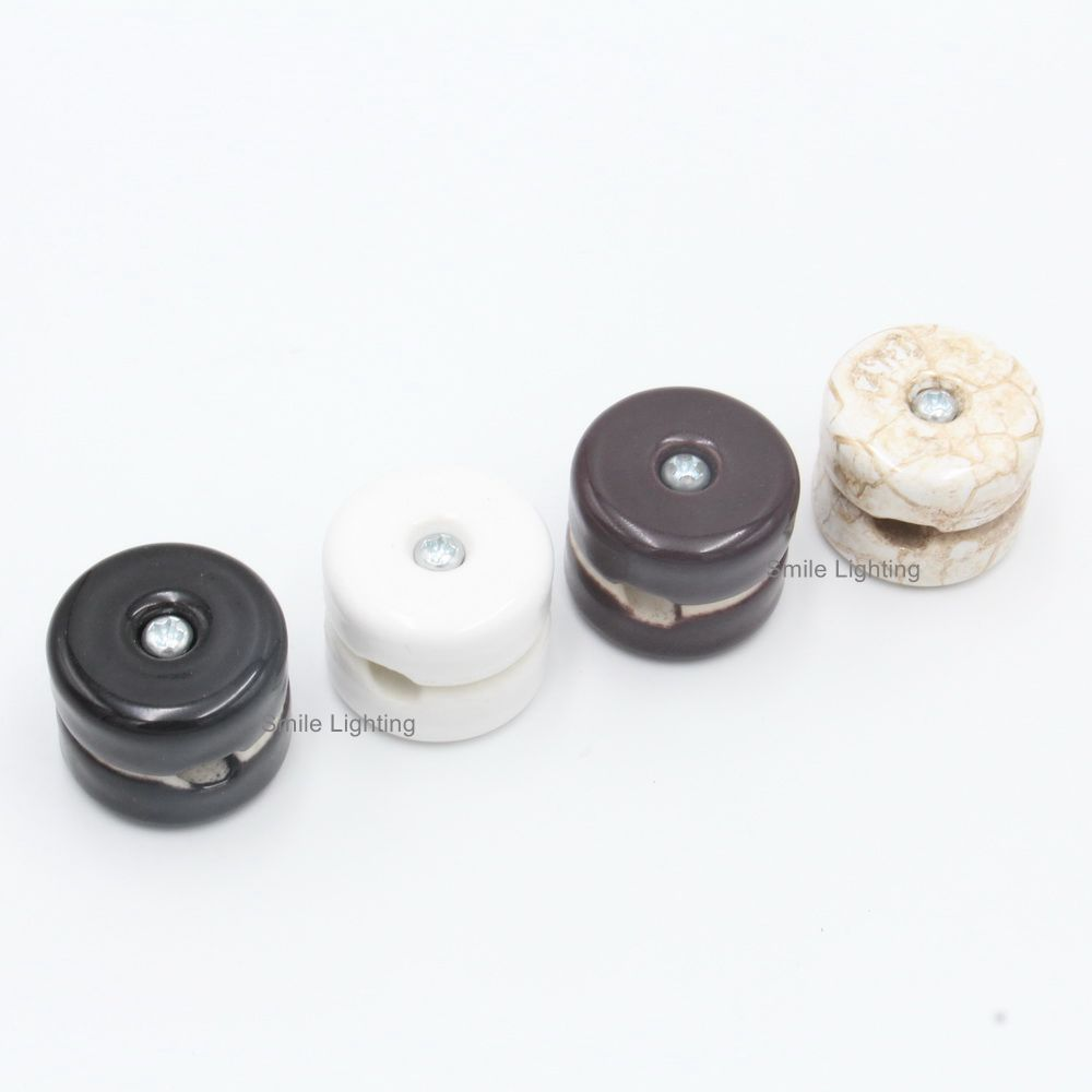 New Arrival  Antique Porcelain Insulator for Wall Wiring Ceramic Wall Fixing for Vintage Textile Cord