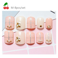 Diamond powder dotted line Paragraphs short hot pink Fake nails