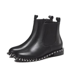 Image 2 - MORAZORA 2020 di alta qualità genuino stivali di cuoio della caviglia per le donne punta rotonda slip on stivali autunno inverno scarpe da donna nero