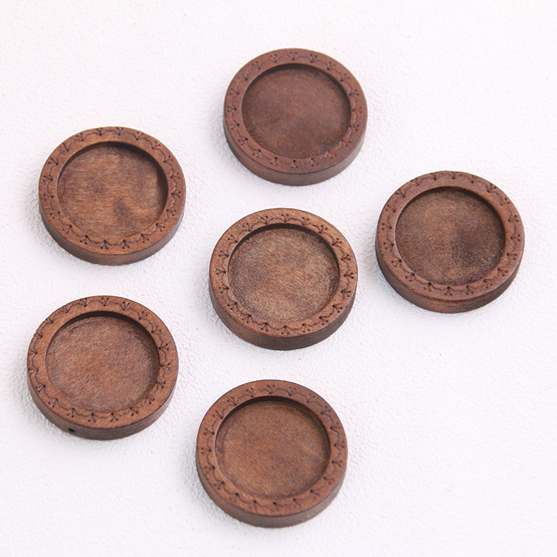 6pcs/lot 18mm Inner Size Brown Color Round Wood Cabochon Base Setting Charms Pendant Necklace Findings P6949