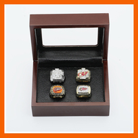 Gorgeous Ring Sets With Wooden Boxes Replica Ice Hockey Copper High Quality 4pcs Packs Detroit Red