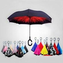 Ветрозащитный обратный складной двойной слой перевернутый Chuva зонтик Женский Для xiaomi самостоящий защита от дождя c-крюк руки для автомобиля