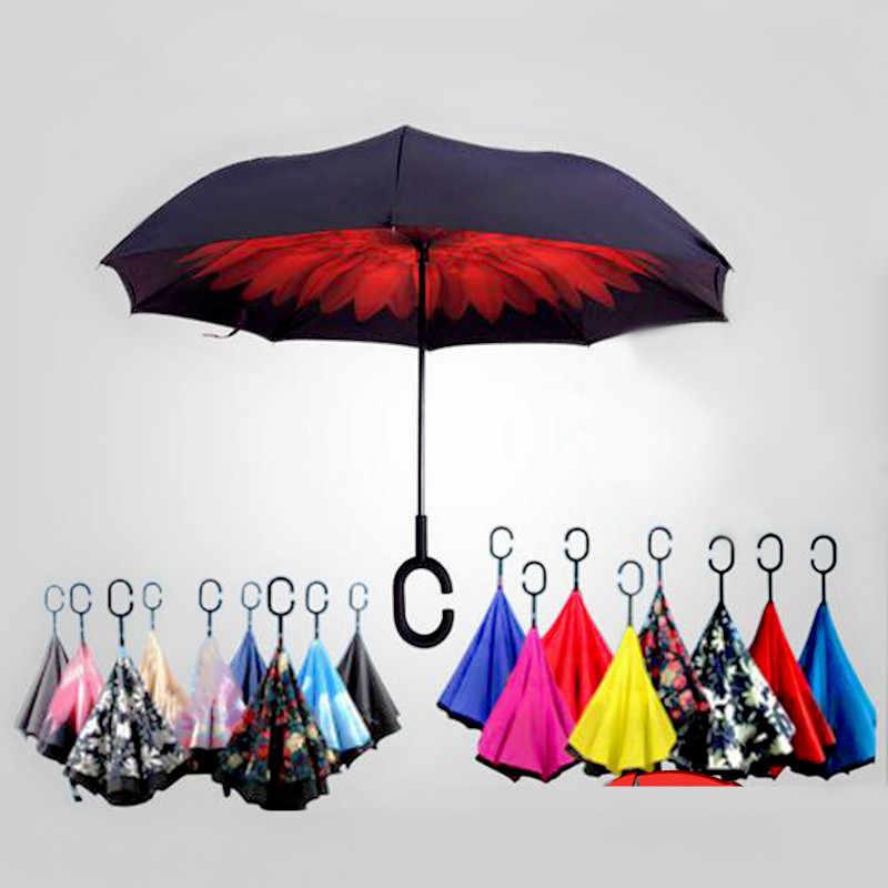Rüzgar geçirmez katlanır çift katmanlı ters Chuva şemsiye kadınlar için xiaomi kendini standı yağmur koruma c-kanca eller araba