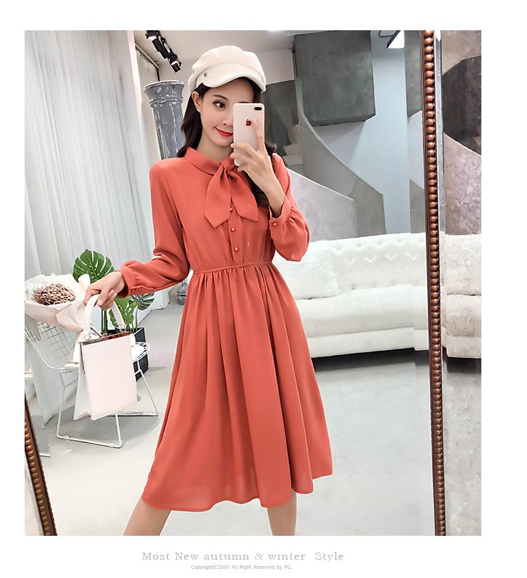 fashion bow collar women dresses party night club dress 2019 new spring long sleeve solid chiffon dress women clothing B101 26
