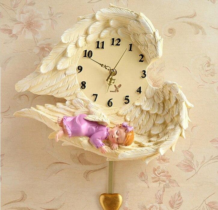 Creative Angel horloge murale Art horloge amour muet Pow patrouille montre mécanisme décor à la maison décoration Relogio Parede cadeaux 50ZB068