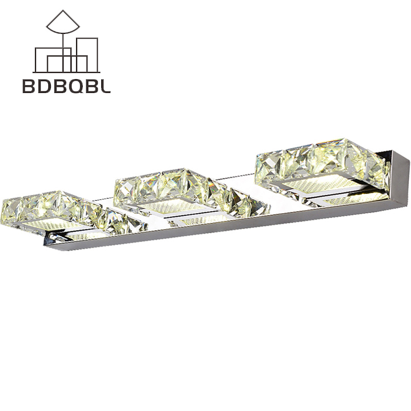BDBQBL Modern Square Crystal Mirror Lamp Nordic Long LED Wall Light IC Driver Bathroom Dining Room Wall Lamp Lighting FixtureBDBQBL Modern Square Crystal Mirror Lamp Nordic Long LED Wall Light IC Driver Bathroom Dining Room Wall Lamp Lighting Fixture