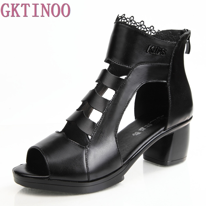 New Women Fashion Sandals Summer Genuine Leather Shoes woman Open Toe Sandals Thick Heel High-heeled Women's Shoes
