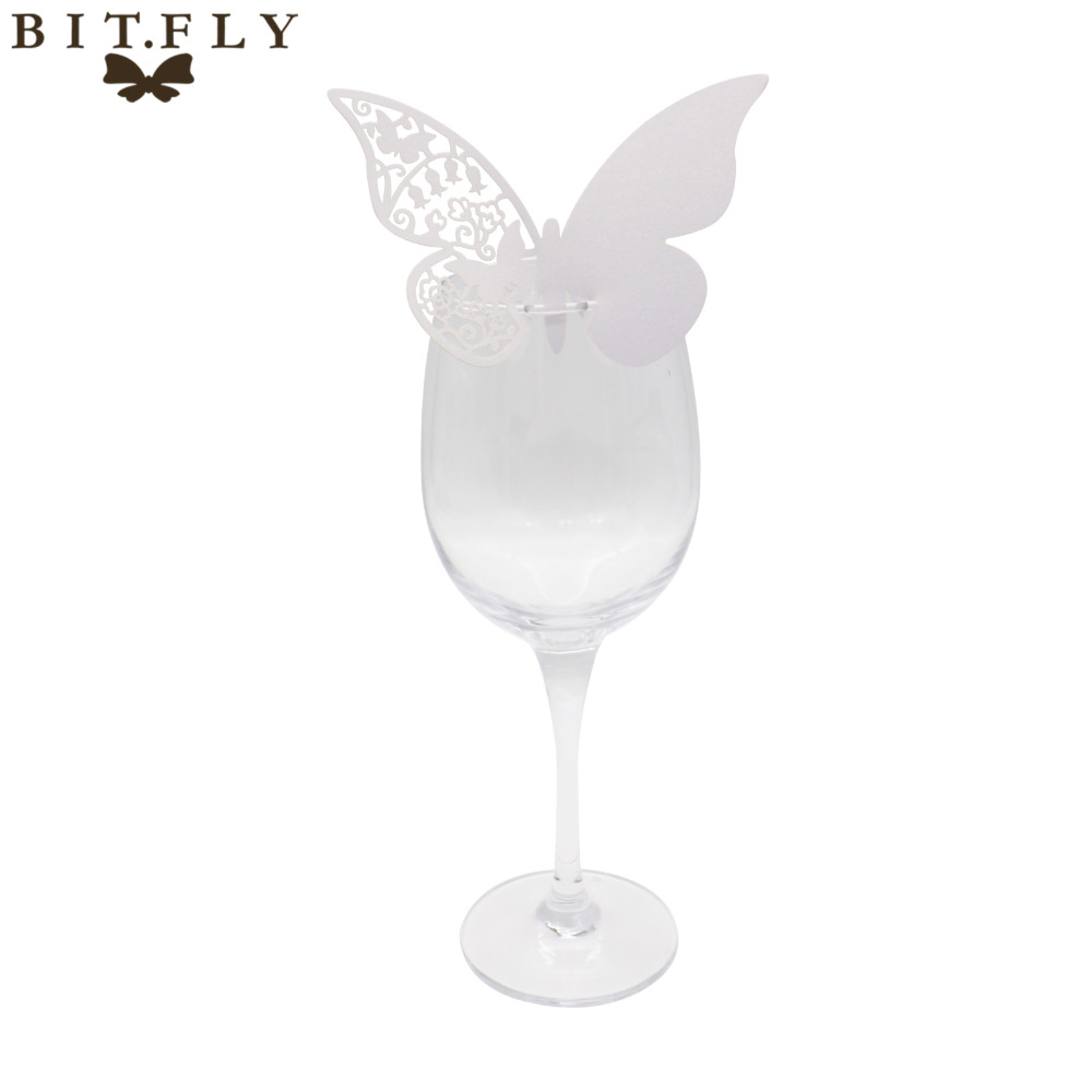 50pcs/lot Table Mark Wine Glass Butterfly Name Place Cards Wedding ...