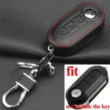 Jingyuqin Remote Folding Flip Leather Car Key Case for Fiat 500 Panda Punto Bravo 2 buttons Styling