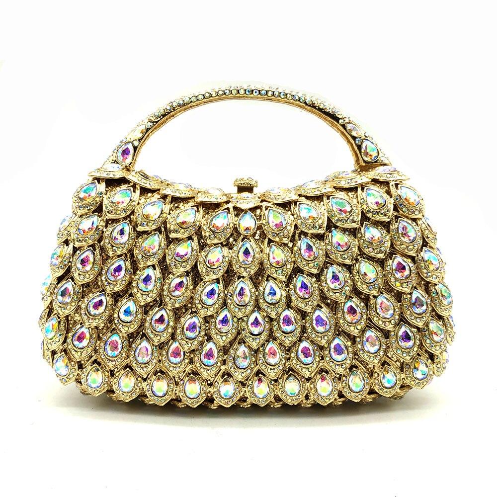 Bolsa de diamantes de cristal de ouro de fgg ab feminino noite sacos de embreagem alça superior minaudiere casamento bolsa strass festa saco