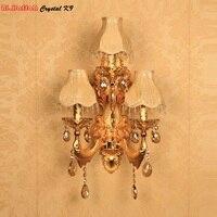 מנורת קיר סלון גביש מודרני וול אור פמוט קיר מנורת קיר נר רומנטי זהב לצד מנורות אורות חדר שינה אירופאי