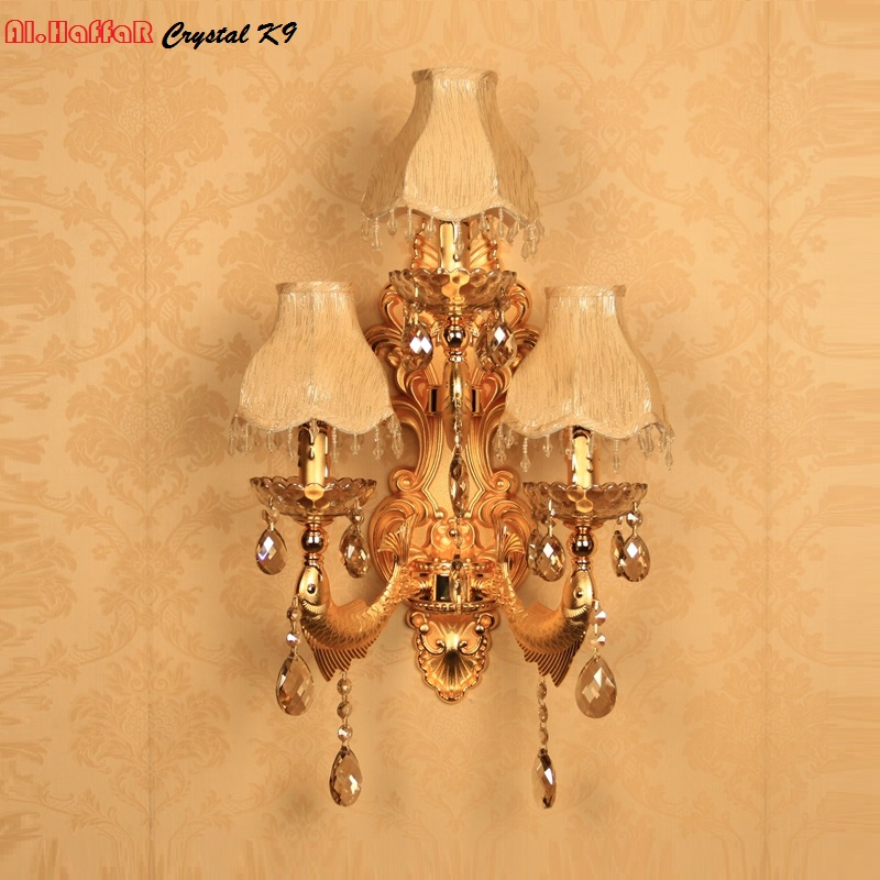 Modern wall light crystal living room wall lamp gold candle wall lamp romantic wall Sconce bedroom lights European beside lamps