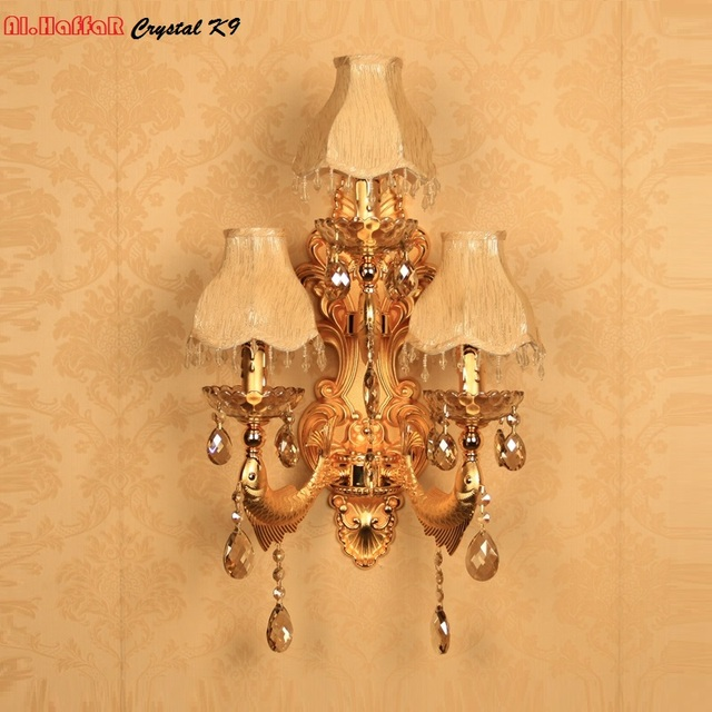 US $64.06 12% OFF|Modern wall light crystal living room wall lamp gold  candle wall lamp romantic wall Sconce bedroom lights European beside  lamps-in ...