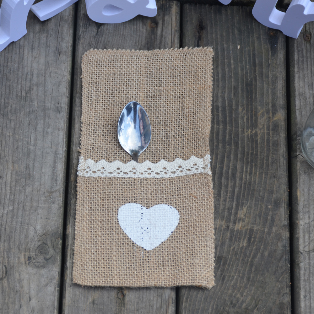 product Lace Hessian Cutlery Gift Bag Rustic County Wedding Utensil Pouch Party Tabel DecorationsKnive And Forks Pockets