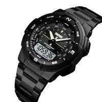 Military Sport Watches Men Digital Quartz Analog Watch Clock Man Dual Display Steel Band Wristwatches reloj hombre 2018 SKMEI