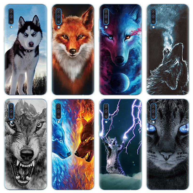 """Animal cartoon wolf cat Cute Fundas TPU Coque Cases for Samsung Galaxy A50 Case accessories Silicone 6.4"""" Back Cover luxury Bags"""