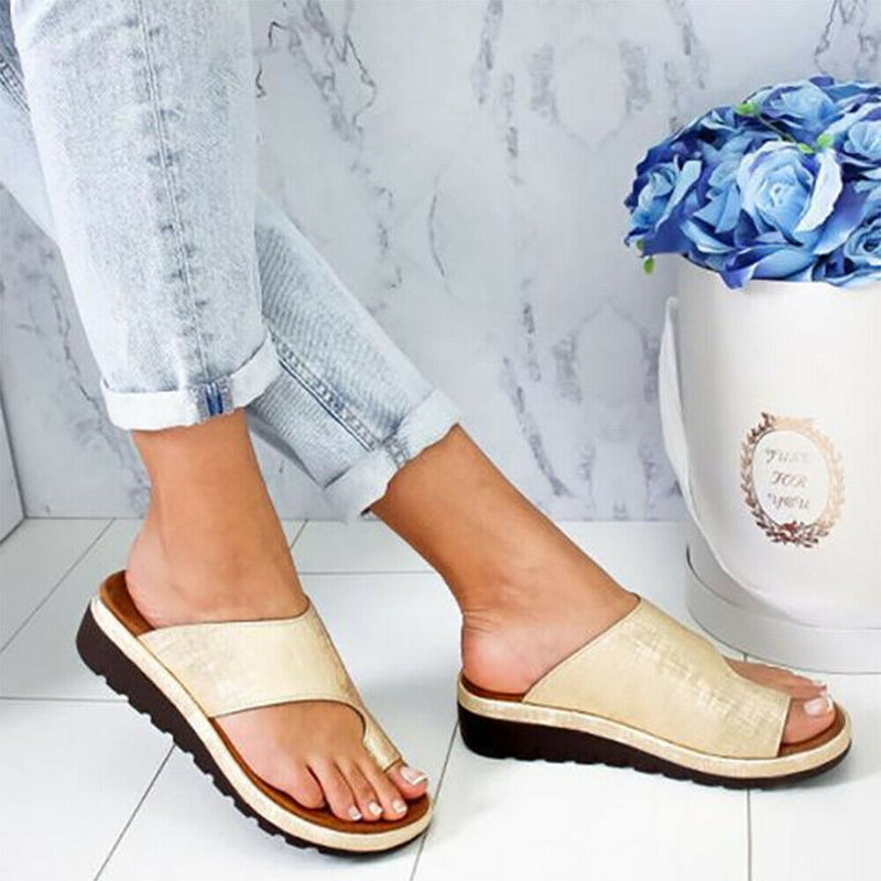 HTB1vAZRcMaH3KVjSZFjq6AFWpXal Women PU Leather Sandals Flip Flops Woman Shoes Platform Flat Sole Casual Orthopedic Bunion Corrector Ladies Foot Correction