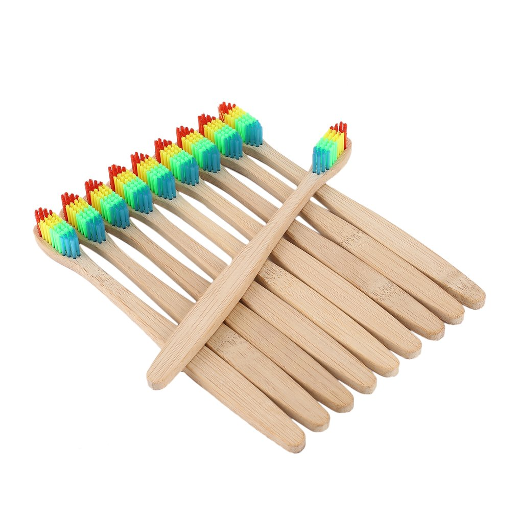 10 Pcs Colorful Head Bamboo Toothbrush Wholesale Environment Wooden Rainbow Bamboo Toothbrush Oral Care Soft Bristle image