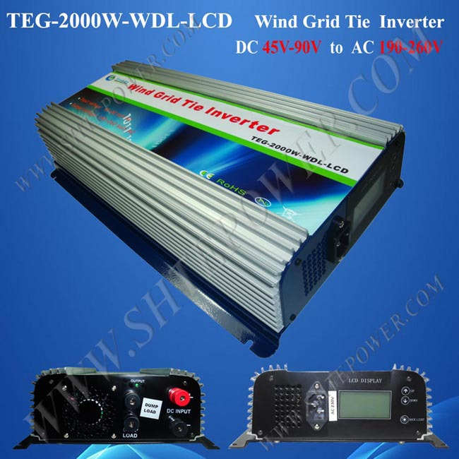 grid tie inverter 2000 watt home wind inverter dc 48v to ac 240v inverter on grid free shipping 600w wind grid tie inverter with lcd data for 12v 24v ac wind turbine 90 260vac no need controller and battery