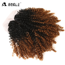 "Noble Ombre Syntetisk Weave 14 ""Kort Jerry Curl Curly Hair Bundlar Med Stängning För Afroamerikanska Kvinnor 200g 7pcs / lot"