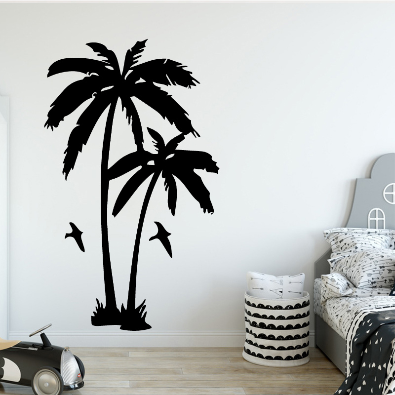 COCOPLAY Coconut Tree Plant Wall Sticker for Living Room Removable Vinyl Palm Trees Wall Decals for Nursery Home Decoration