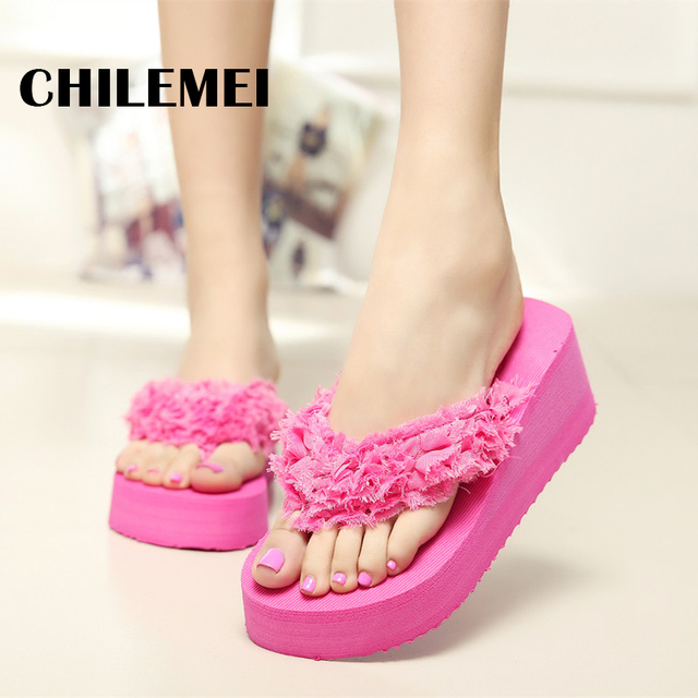 Bathroom Flip Flop Women High Heels Flip Flop Square Heel Slipper Sexy  Ladies Outside Flip Flop