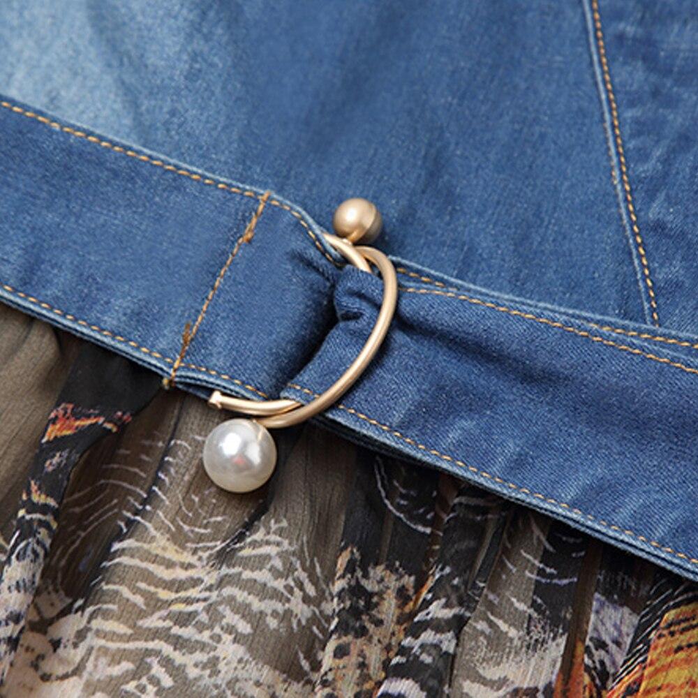 Cou Soie Jupettes Couture Fleur Denim De ligne Bleu Courtes Mode A Femmes D'été Robe Kohuijoo À Mousseline V Patchwork Manches En FwqxBPa7I