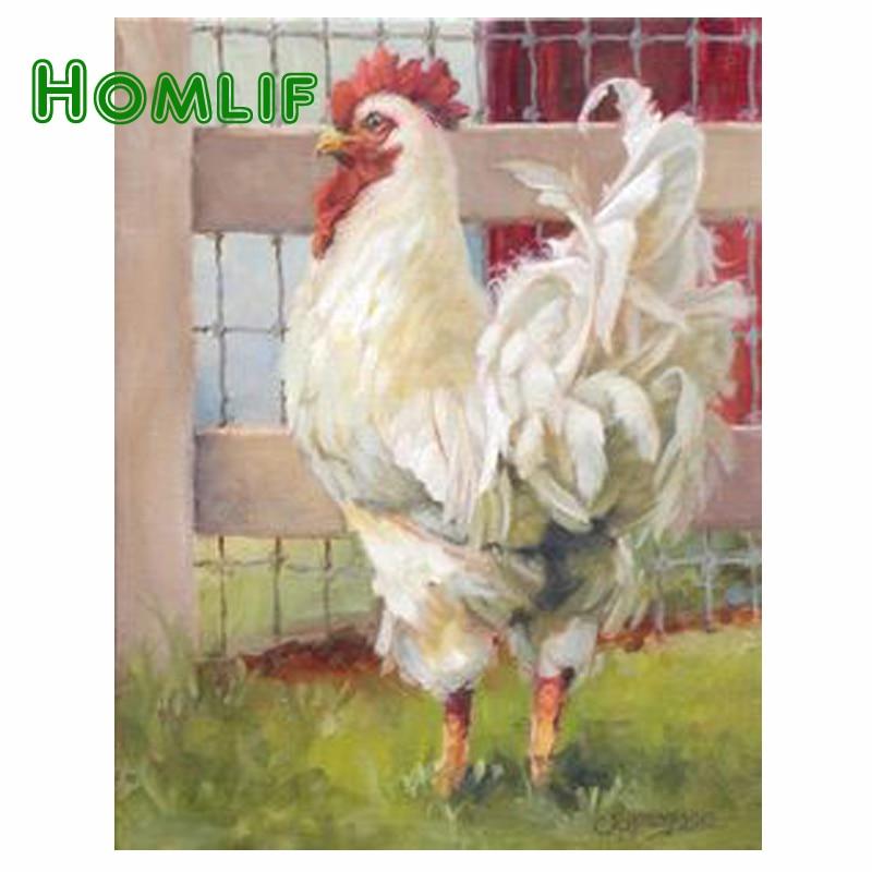 HOMLF Diy cross stitch font b Big b font cock diamond Crafts diamond painting embroidery needlework