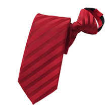Pre-tied Neck Tie Mens Skinny Zipper Ties Red Black Blue Striped Slim Narrow Gifts Neckties for Bridegroom Party Dress Wedding