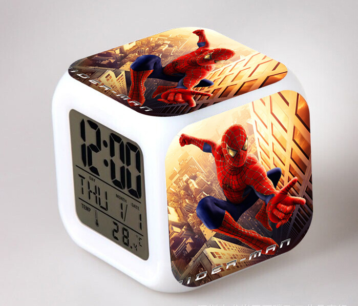 Anime Spiderman Action Figure Color Change Multi-function LED Glowing Change Digital Alarm Clock Glowing Toys Doll