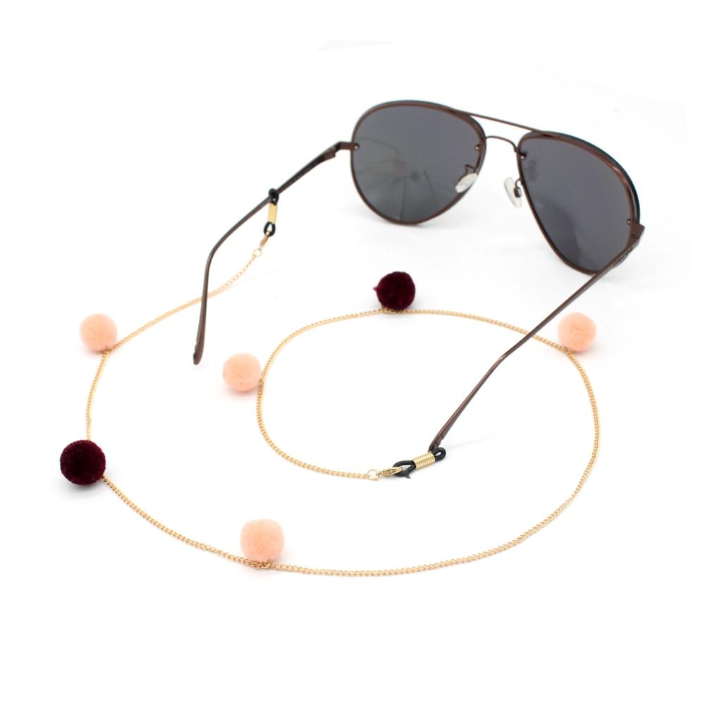 Free Shipping 10pcs/lot GL392 gold chain cheap pink pom pom fashion eyeglass strap rope