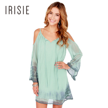 IRISIE Apparel Green Sweet Strap Dress Women Clothing Backless V Neck Cute Female Vestido Cold Shoulder Casual Chiffon Dress
