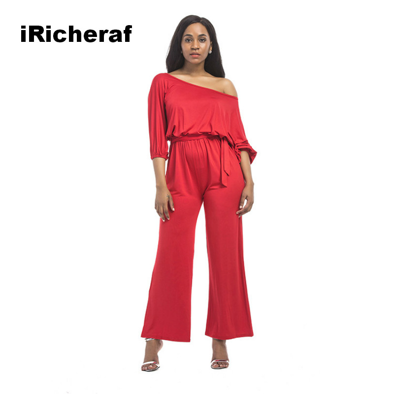 iRicheraf Woment One Piece Casual Bodycon Jumpsuit Slash Neck Short Lantern Sleeve Sexy Solid Rompers Pants Combinaison Femme