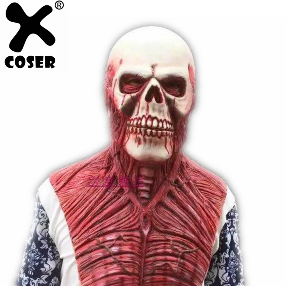 XCOSER Clearance Cheep Halloween Cosplay Mask Zombie Mask Latex Bloody Scary Extremely Disgusting Full Face Mask For Masquerade