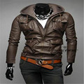 MEBOSYA 2016 New Fashion Men's PU Jackets Stand Collar Mens Leather Jackets Casual Outerwear for Men