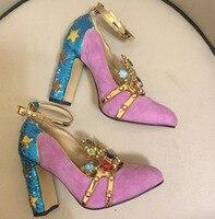 2018 туфли на толстом каблуке с бриллиантами для подиума, замшевые туфли высокого качества на высоком каблуке, шикарные женские вечерние туфл