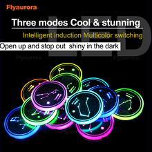 2 Pieces LED Cup Holder Pads Light Mats Bottle Coasters 7 Colors Car Logo LED Atmosphere Light Constellation LED Cup Holder Pads недорого