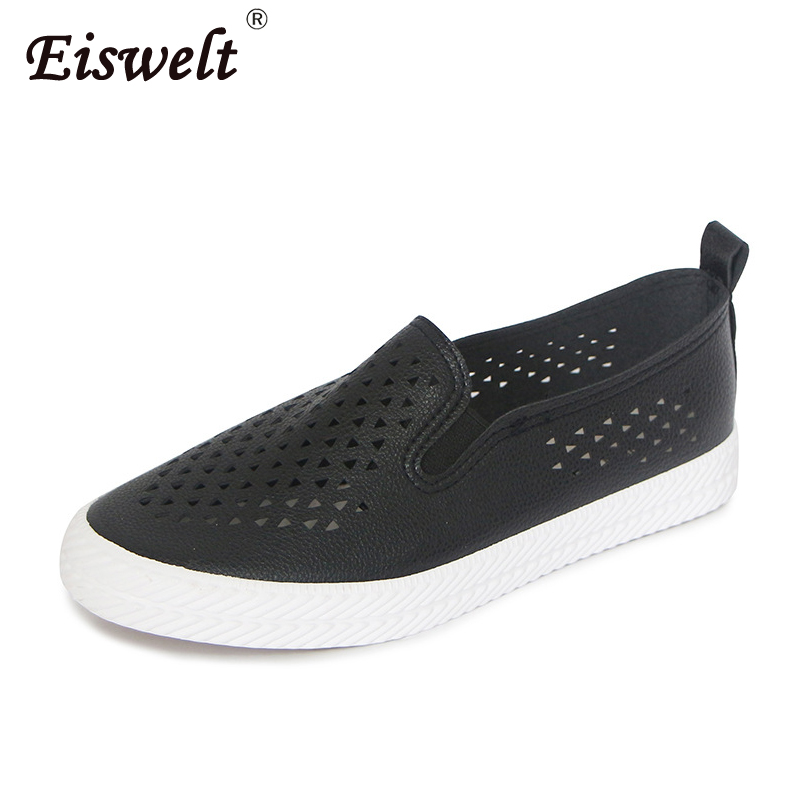 EISWELT Women Summer Flats Hollow Shoes Female Breathable Ladies New Shoes Flat Fashion Women Casual Shoes Women's Loafers
