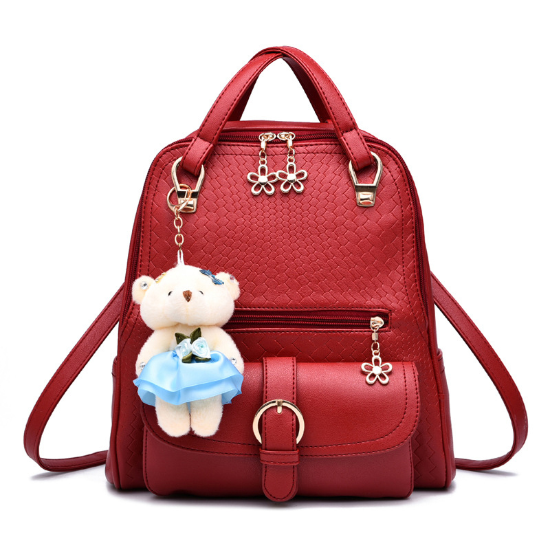 2017 Women Double Shoulders Bag Girls School Backpacks Mochila Casual Cute Fashion PU Leather Backpack for